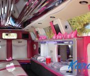 Interior de limusina rosa